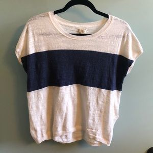 J. Crew Short Sleeve One Stripe Heathers Sweater